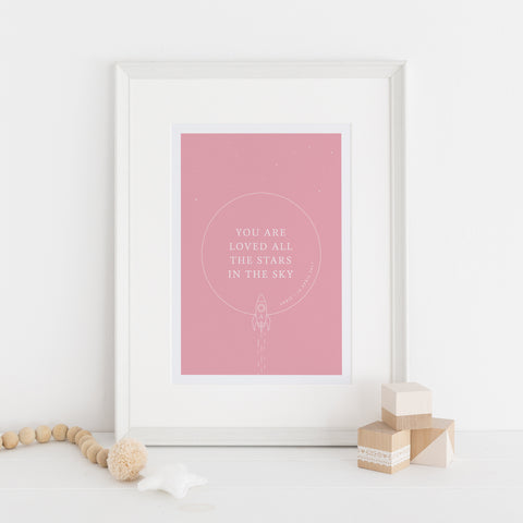 You Are Loved Personalised Nursery Print