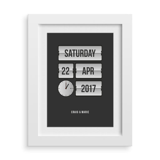 flip clock personalised date print