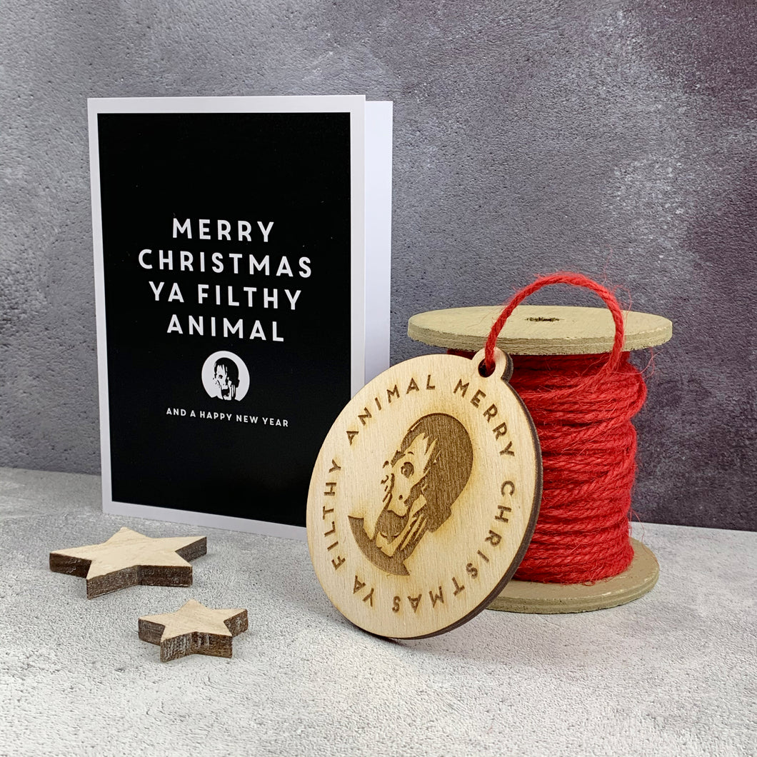 Filthy Animal Home Alone Christmas Card & Tree Decoration Set