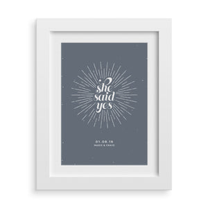 She Said Yes Personalised Engagement Print