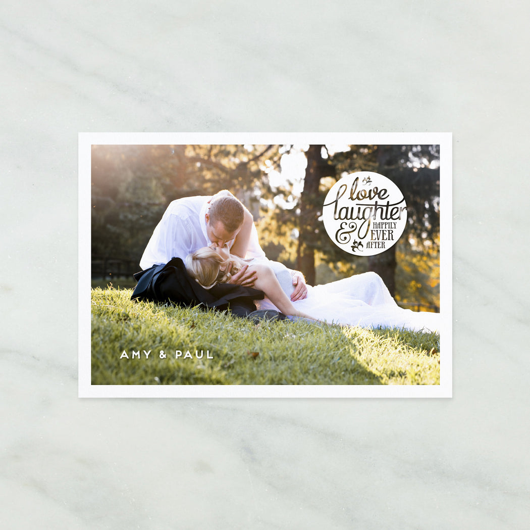 Happily Ever After Photograph Wedding Thank You Postcard