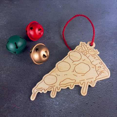 Slice Of Pizza Wooden Tree Decoration