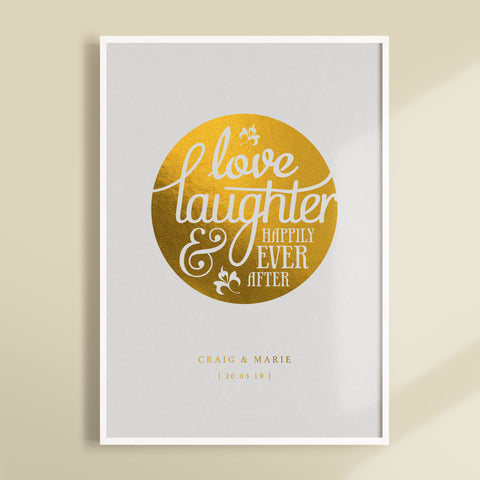 Happily Ever After Foiled Wedding Print