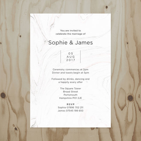 Marble Wedding Invitation back