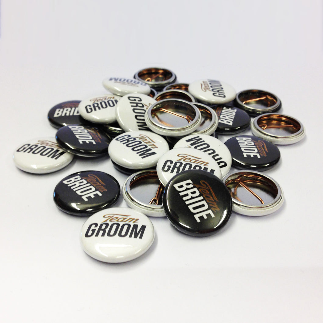 Team Bride & Groom Badges - Black, White & Gold Wedding Favours - Paperhappy