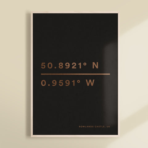 Geographical Coordinates Personalised Foil Print