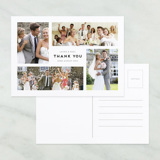 Photo Montage Wedding Thank You Postcard