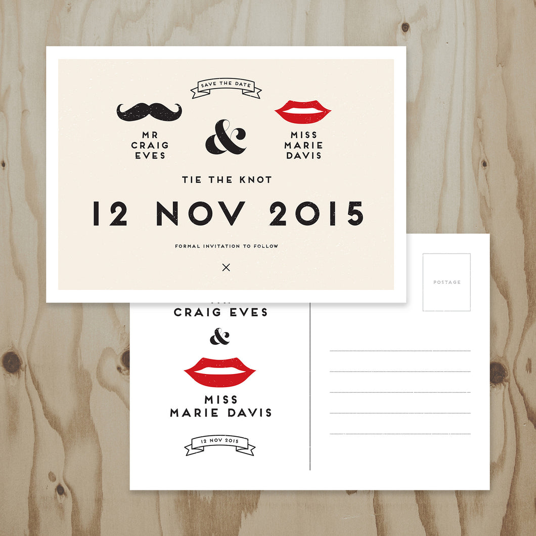 Retro Wedding Save The Date Postcard