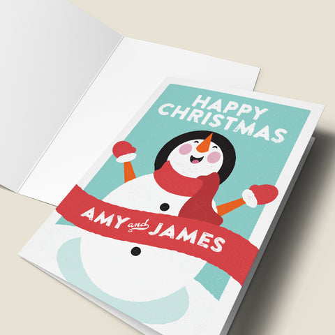 Personalised Snowman Christmas Card