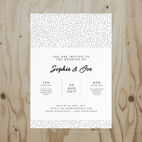 Speckled Wedding Invitation front