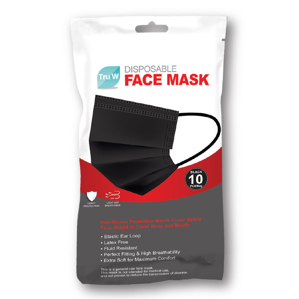 DISPOSABLE MASK BLACK 10pcs - Wigsdepot