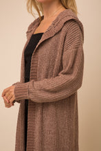 Load image into Gallery viewer, Coffee Brown Chenille Hoodie Cardigan