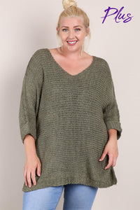 Katie V-Neck Sweater Plus Size Olive