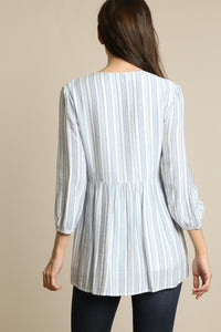 Avery Cotton Stripe Embroidered Top Blue