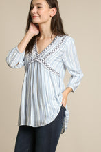 Load image into Gallery viewer, Avery Cotton Stripe Embroidered Top Blue