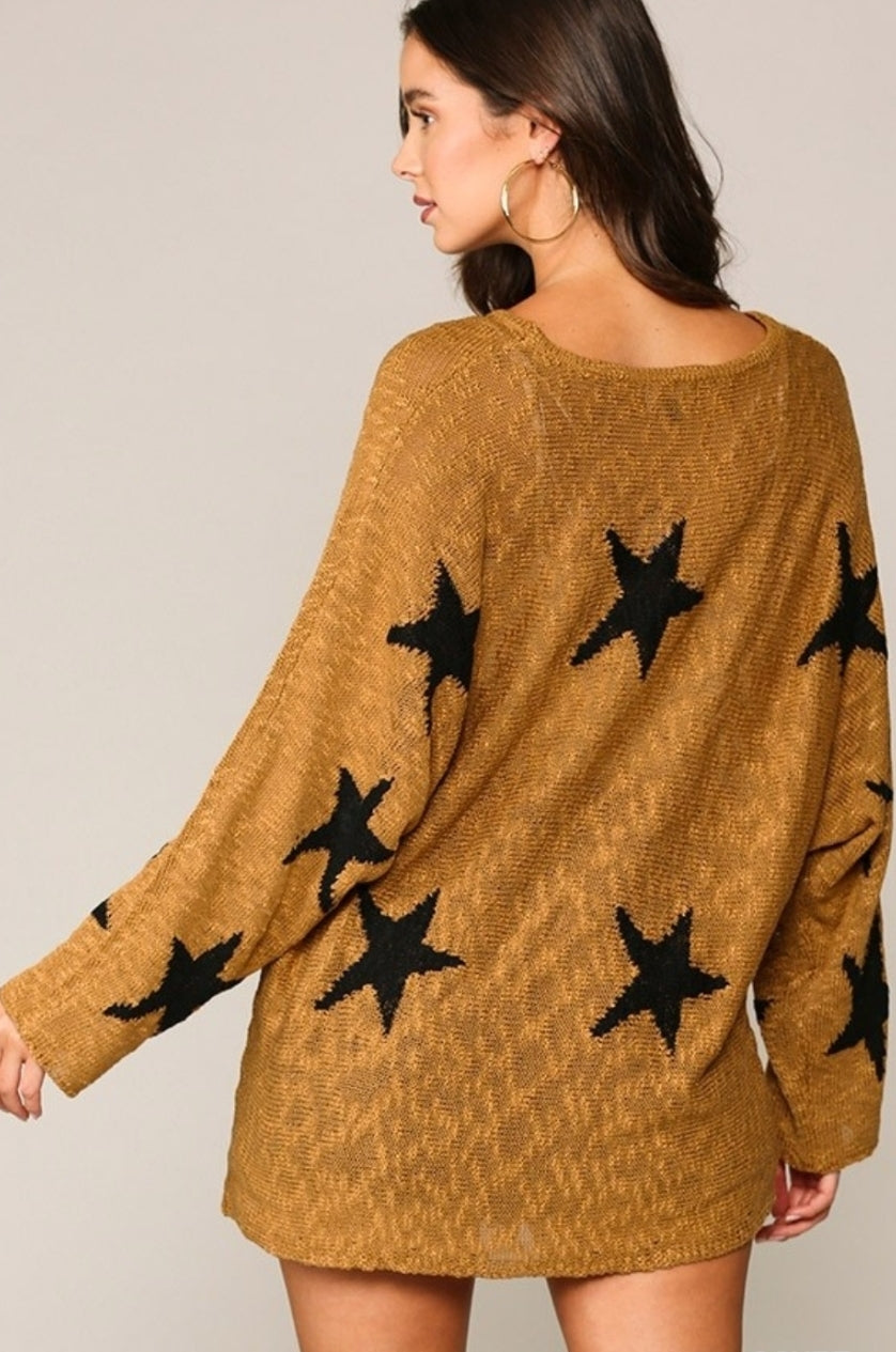 Star Sweater Tunic Gold