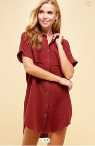 Andrea Cotton Gauze Shirt Dress Clay