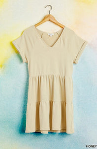 Heather French Terry Tiered Shirt Dress Honey Yellow