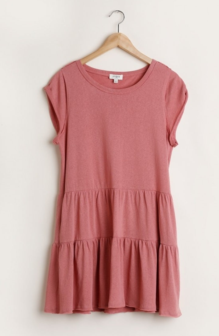 Kinsley Tiered Cotton Dress Dusty Blush