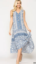 Load image into Gallery viewer, Cesily Boho Maxi Dress Denim Blue