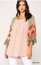 Load image into Gallery viewer, Bella Floral Leopard Sleeve Top - Blush