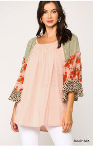 Bella Floral Leopard Sleeve Top - Blush