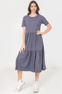 Cailon Navy Tiered Stretchy Maxi/Midi Dress