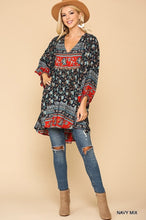 Load image into Gallery viewer, Kathy Navy Blue Boho Tunic Top