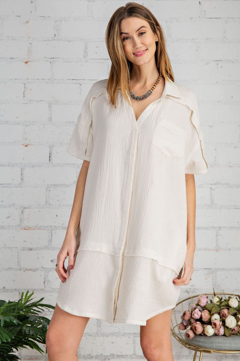 Laura Ivory Cotton Gauze Shirt Dress