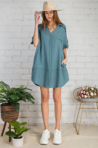 Laura Teal Cotton Gauze Shirt Dress