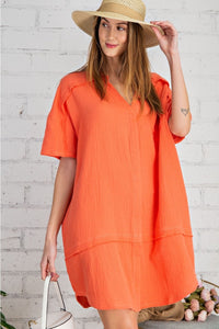 Laura Coral Cotton Gauze Shirt Dress