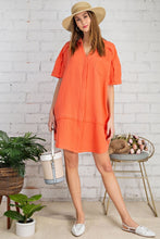 Load image into Gallery viewer, Laura Coral Cotton Gauze Shirt Dress