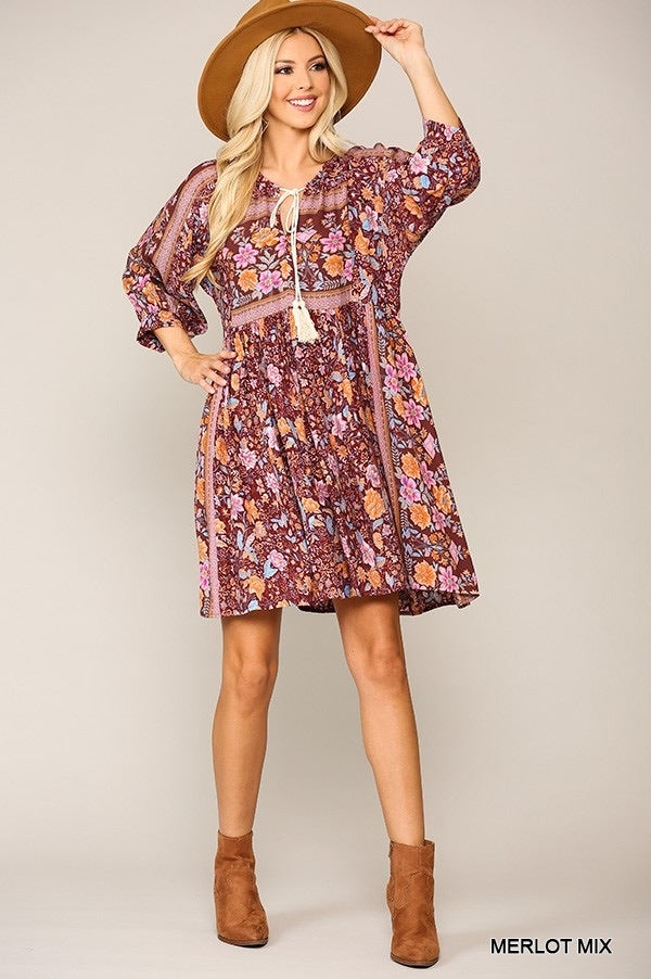 Madison Merlot Mix Tunic Dress