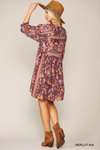 Load image into Gallery viewer, Madison Merlot Mix Tunic Dress