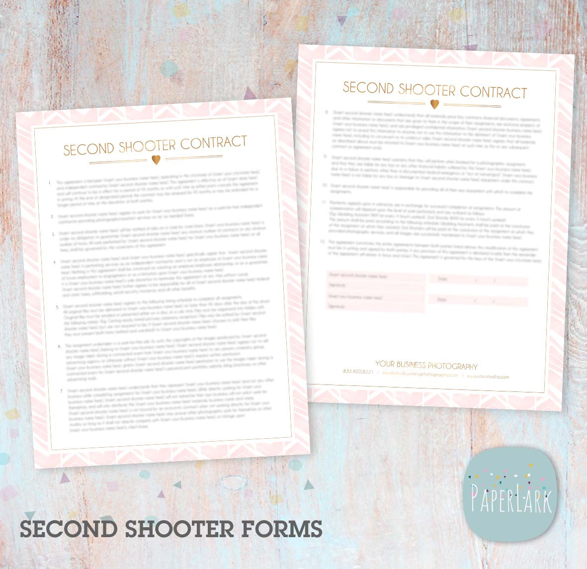 Second Shooter Photography Contract Ng042 Paper Lark Designs