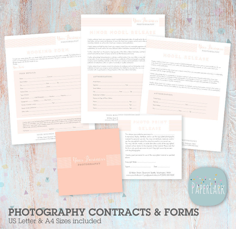 Photography business set up forms templates ng001 paper lark designs photography business set up forms templates ng001 fbccfo