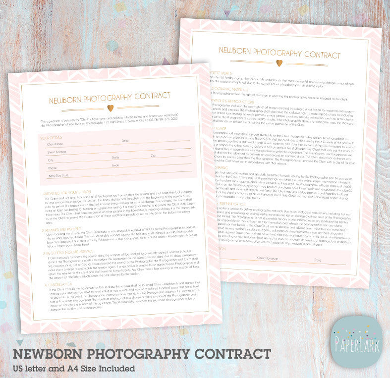 Newborn Photography Contract Ng  Paper Lark Designs