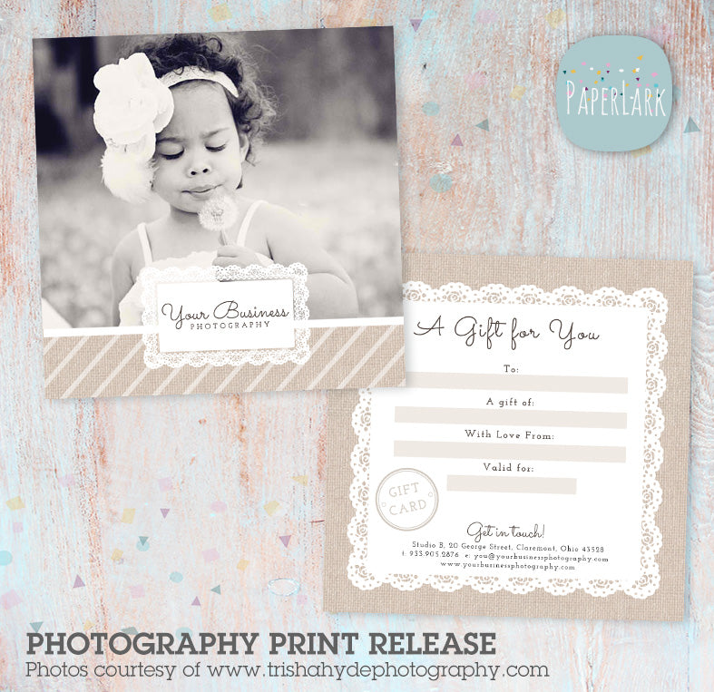 Photography Studio Gift Certificate Template VG004