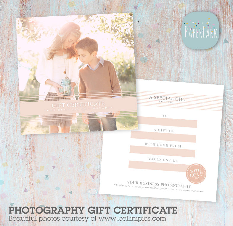 Photography Studio Gift Certificate Template Vg  Paper Lark Designs