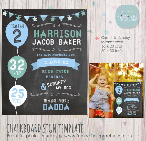 Chalkboard Printable Sign Template for Photography Prop WG002 ...