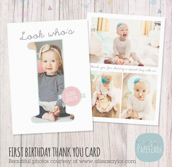First Birthday Cake Smash Thank You Card Template Af001 Paper Lark
