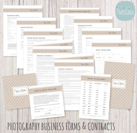 Forms contracts paper lark designs photography business forms and contracts set templates by paper lark designs accmission Gallery