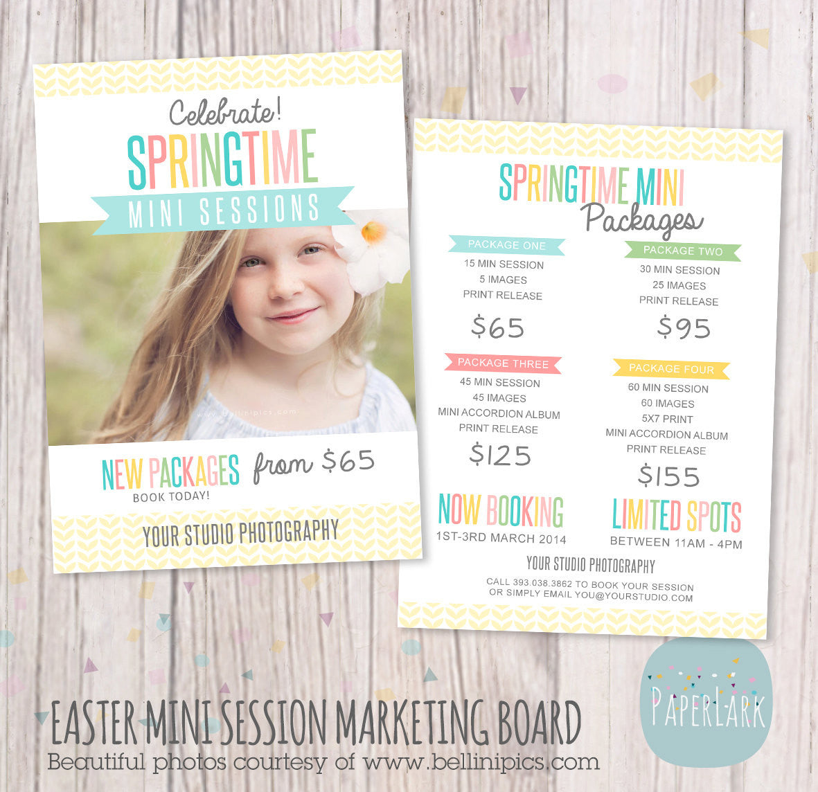 Spring marketing board template ie010 paper lark designs for Photography marketing templates