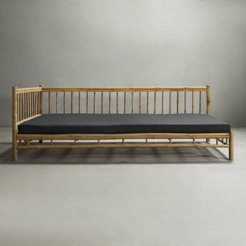 KUSEN-BAMBOO DAY BED 01-Stone-Handrail Right
