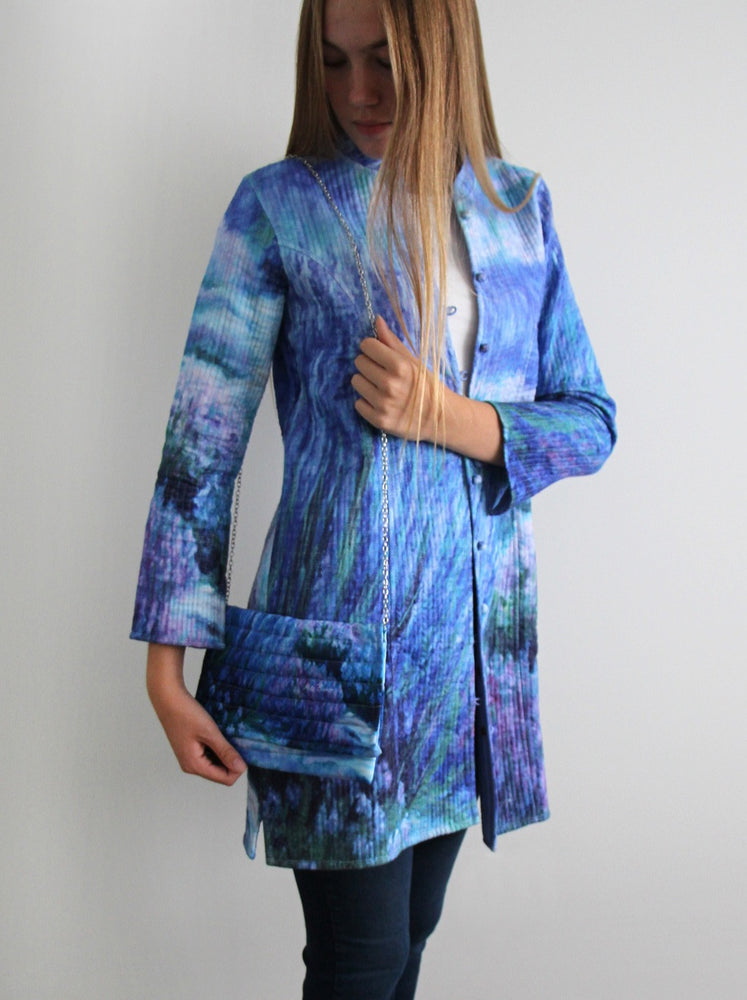 Long silk jacket with matching purse - Lavender Garden design - #120
