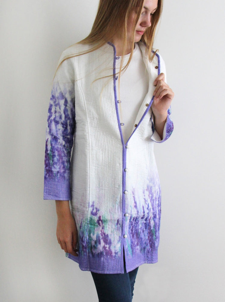Long silk jacket - Lavender design - #122
