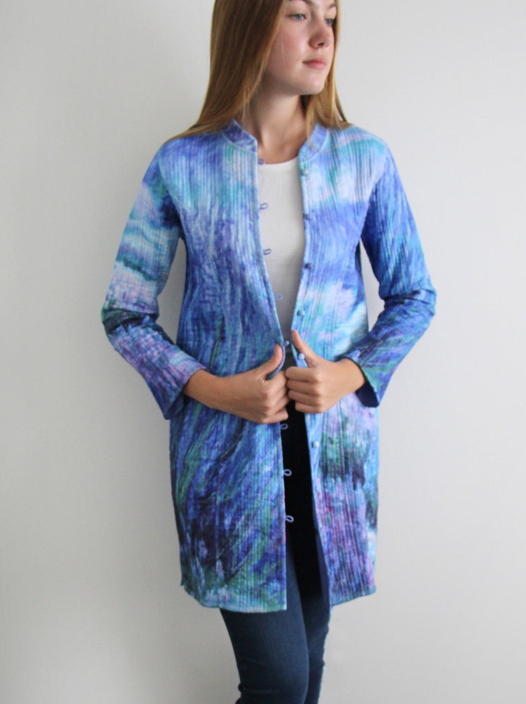 Long silk jacket - Lavender Garden design - #120