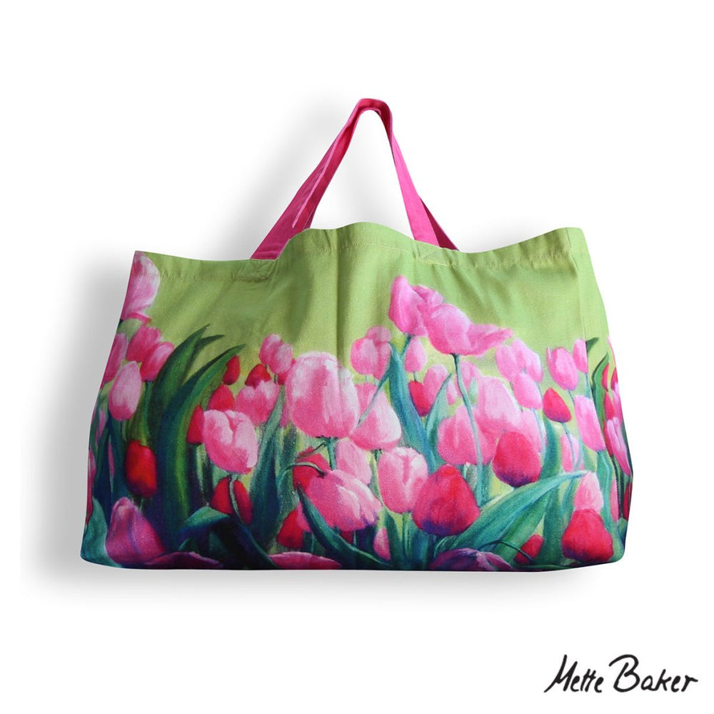 Beach Bag - Pink Tulip pattern