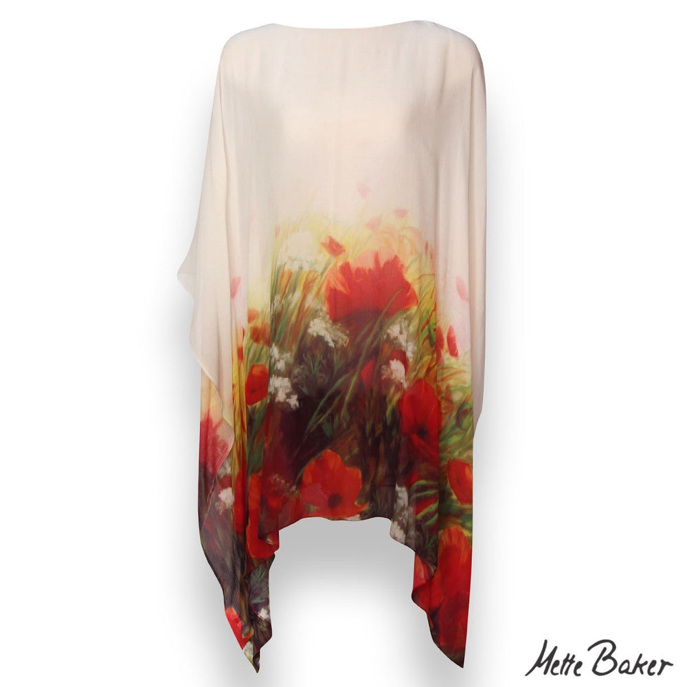 beautiful Kaftan white with red poppies in field