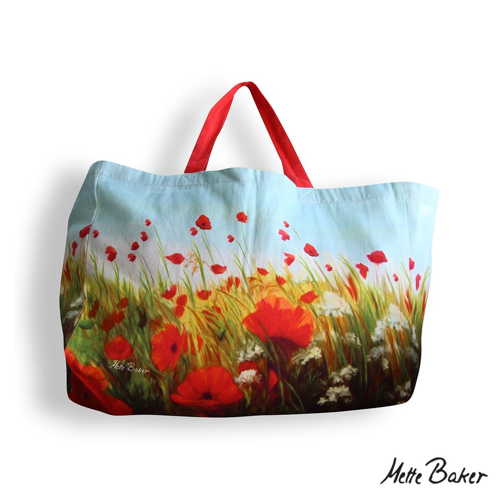 Beach Bag - Poppies With Sky pattern
